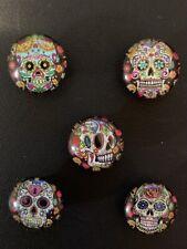 Handmade Sugar Skull Design Miniature Glass Fridge/Memo Board Magnets (set of 5)