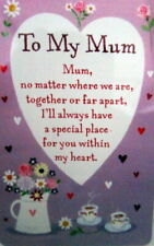 "HEARTWARMER KEEPSAKE MESSAGE CARD ""TO MY MUM"" LOVELY VERSE MOTHER'S DAY GIFT"