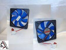 PC Gehäuse Lüfter 12cm Fan 120x120x25mm DC 12V s. leise Kühler Cooler Black/Blau