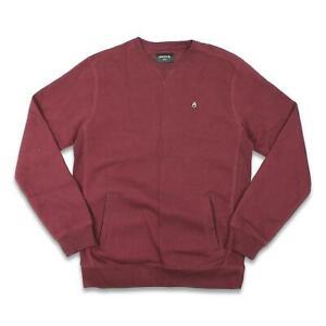 Nixon Mens Calle Crew Fleece Sweatshirt Burgundy M New