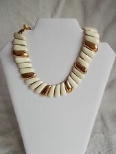 Women's Monet Necklace Goldtoned and White Unique 8 Inches