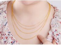 18k Yellow Gold Necklace Women Luck O Link Chain Fashion 16inch 1.1mmW 1-1.5g