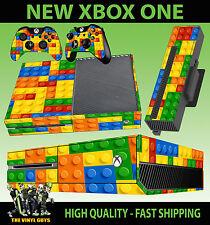 XBOX ONE CONSOLE STICKER TOY BRICK WALL BUILDING BLOCKS SKIN & 2 PAD SKINS