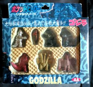 1990s AA TOHO Godzilla Yutaka 7 Piece Kaiju Figures set NEW / FREE SHIPPING