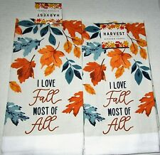 "FALL Kitchen Towel Set 15"" x 25"" I LOVE FALL MOST OF ALL.Set of 2 Towels"