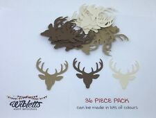 36 PAPER PUNCH CUT OUT PUNCHIES. DEER STAG HEAD ANTLERS WOODLAND BROWN KRAFT