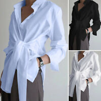 ZANZEA Women Long Sleeve Buttons Down Tunics Tie Shirt Tops Asymmetrical Blouse