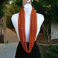 Small INFINITY SCARF Solid Bright Burnt Orange Handmade Crochet Skinny Winter