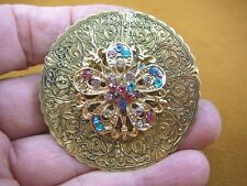 bb601-134) unicorn rhinestone star flower fleur de lis circle brooch pin pendant