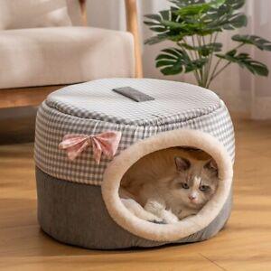 Indoor Dog House Cave Cushion Winter Sofa Plush Bed Pet Kennel Soft Medium Warm