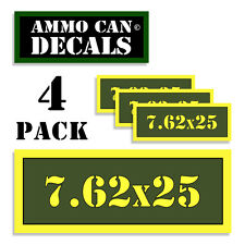 """7.62 X 25 Ammo Can 4x Labels Ammunition Case 3""""x1.15"""" stickers decals 4 pack AG"""