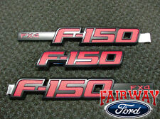 2009 thru 2014 F-150 OEM Genuine Ford Parts RED FX4 Fender & T/Gate Emblem Set