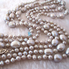 """Pearl Necklace Strand Jewelry 60"""" 4.0-9.0mm Silver Gray Freshwater"""