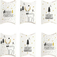 Party Supplies Elk Christmas Paper Candy Boxes Pillow Shape Box Kraft Gift Bag