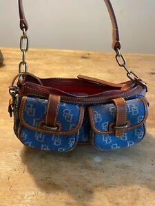 DOONEY & BOURKE Handbag, Brown Leather And Denim, NEW!