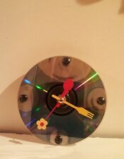 Quartz clock with screws. Colourful hands Spoon, fork and Flower.  Handmade.