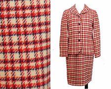 Vtg Red White & Blue Plaid 2-pc Wool Skirt Suit~Majestic~Patriotic~Sz 10 /Sm~60s