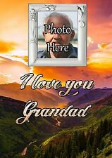 Personalised Photo Grandad Graveside Memorial Card with Free Ground Stake F30