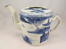 Antique Chinese Blue Willow Porcelain Teapot Pottery China (EL)