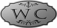 """Stainless Steel color """"WC"""" Water Closet nautical door sign - Free Shipping"""
