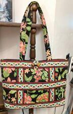New ListingVera Bradley cotton Floral Pink Toggle Tote Pink Black Shoulder  Bag 936adfb90cf21
