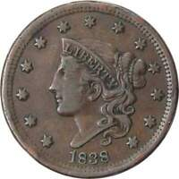 1838 1c Coronet Head Large Cent Penny Coin VF Very Fine