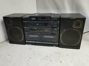 Sony CFD-460 AM/FM CD Dual Cassette Boombox Stereo@