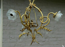 Vintage french Rare Brass Putti on swing 3 arms chandelier glass tulip shade