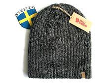 FJALLRAVEN Sweden BLACK GREY Melange Beanie Hat Toque Ribbed UNISEX Rib Knit New