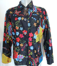 Chico's Design Womens Dress Shirt 100% Silk Embroidery 100% Rayon Made in India