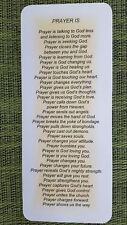 """Christian Bookmarker - Prayer Is   8 1/2"""" x 3 1/2""""  Laminated - New"""