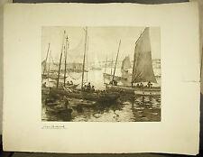 Sardiniers à quai Port de Concarneau Georges Maulemouck Bretagne Marine Gravure