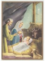 Nativity Scene Jesus Child Ventura Religious Vintage Christmas Card Nativity