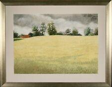 Loic DUBIGEON - Dessin original - Pastel - Les champs en Normandie