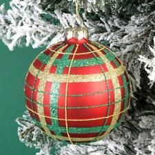 Luxury Traditional TARTAN Design Glass Christmas Tree Bauble Xmas Decoration