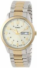 New Timex Men's T2M935 Elevated Classics Gold Dial Two-Tone Expansion Watch