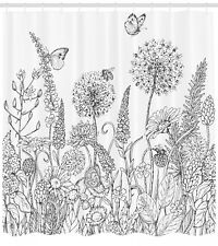 """Floral Shower Curtain Flowers Garden Scenery Print for Bathroom 84"""" Extralong"""