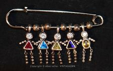 MOTHERS JEWELRY w/ child charms in jeweled birth stones * Ster Silver Kilt Pin