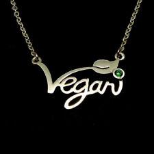 Silver Vegan Necklace Letters Vegan Pendant Vegetarian Choker Vegan Jewelry Gift