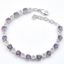Special Design Natural Round Rainbow Mystic Topaz Gems Silver Charm Bracelets 8""