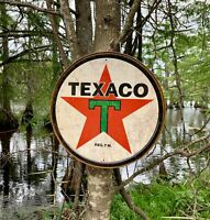 Texaco '36 Round metal tin sign wall decor garage man cave shop gift under $20