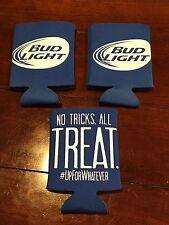 Lot Of 3 Bud Light Koozies - #UpForWhatever - No Tricks. All Treat. Budweiser