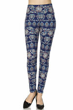 PLUS SIZE Buttery Soft Always Brushed Blue Printed Leggings TC/81