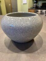 Old Chinese Asian Glaze Green Crackle Vase Bowl Planter Celadon Cerami Porcelain