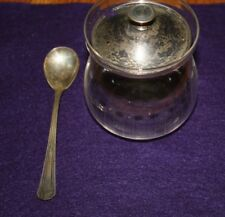 VINTAGE STERLING SILVER AND GLASS SUGAR BOWL WITH STERLING SLIVER SPOON