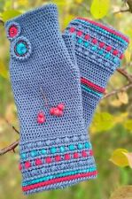 Handmade crochet women fingerless gloves driving mittens gray hand warmers gift