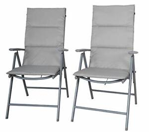 Camping Folding Chairs with Upholstery, Set of 2, Silver/Grey