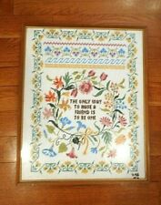 Vintage Embroidery Cross Stitch Framed Sampler FRIENDSHIP quote Signed 1976