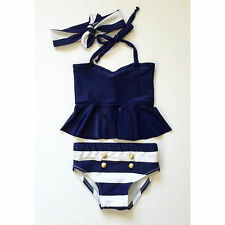 3pcs Kids Baby Girl Bikini Suit High Waist Stripe Swimsuit Swimwear Bathing Suit