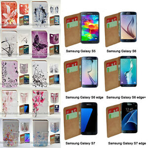 For Samsung Galaxy Series Butterfly Print Wallet Mobile Phone Case Cover #3
